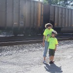 Stretching our legs and videotaping the train!