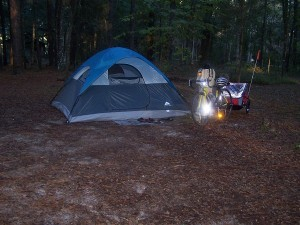 Our tent at Suwannee River State Park, Florida