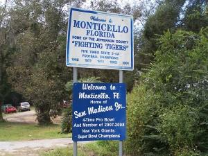 Entering Monticello, FL