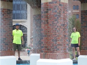 Having a little fun at a fountain on the campus of Florida State University.