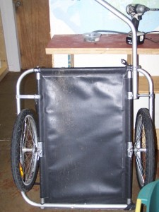 A Burley cargo cart that Scott uses when they travel. Holds 100 lbs!