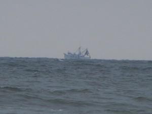 A ship sailing on the Atlantic Ocean