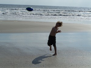 Luke Throwing His Birthday Football