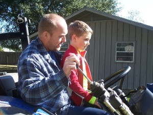 Corey teaching Luke how to change gears!