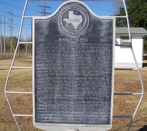 Moonshine Hill Historical Marker in Humble, Texas