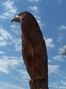 A Bald Eagle carved by Marlin Miller after Katrina