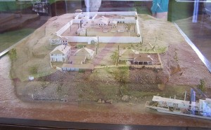 An architectural model of the prison.