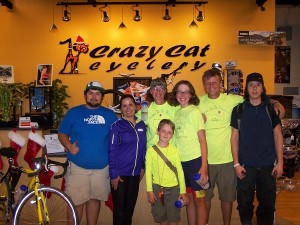 Belen and a couple of the guys from Crazy Cats Cyclery!