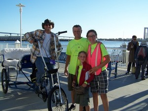 Waiting for the ferry with RJ and his pedicab.