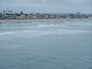 Despite the clouds and mist we biked the 8 miles to Pacific Beach